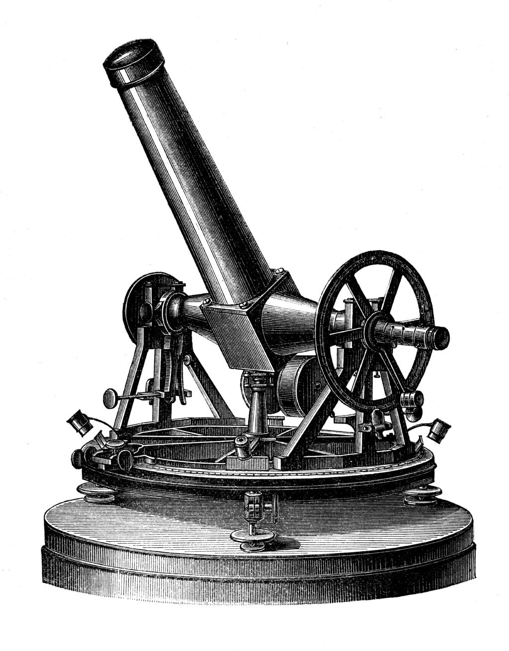 """Gerlings Passageinstrumt, Ertel & Sohn 1841, Reproduktion aus """"Astronomische Zeitbestimmungen, F. Melde 1876"""", mit freundlicher Genehmigung der Hochschul- und Landesbibliothke Fulda."""
