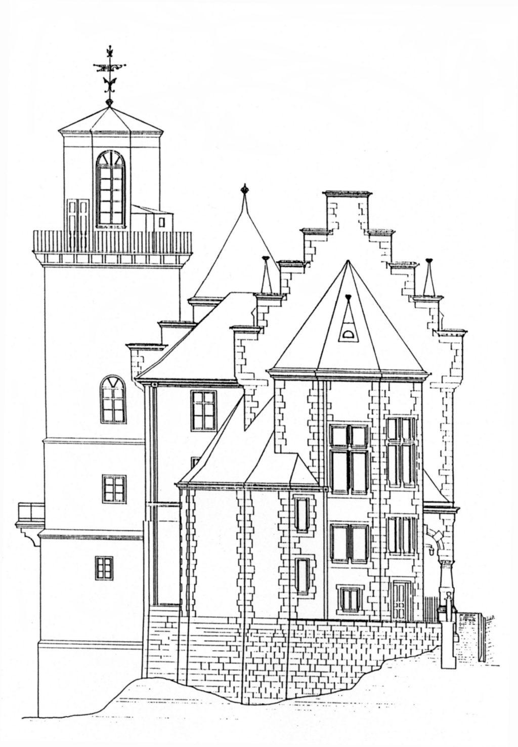 Skizze des Gebäudes Renthof 6 mit Sternwarte aus dem Jahr 1890