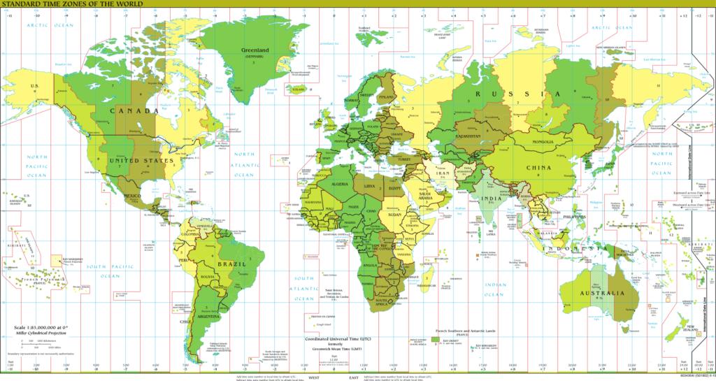 Die Zeitzonen auf der Erde