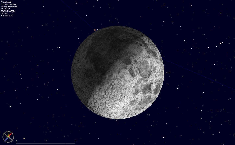 Der Mond bedeckt Eta Gemini am 13.3.2011